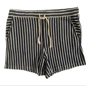 Andrea Jovine Navy/White Striped Shorts Sz Med
